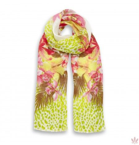 Leopard Flower Ambush Green Linen Stole 100% Linen. Luxury high quality made in Italy by Fulards.com free shipping.