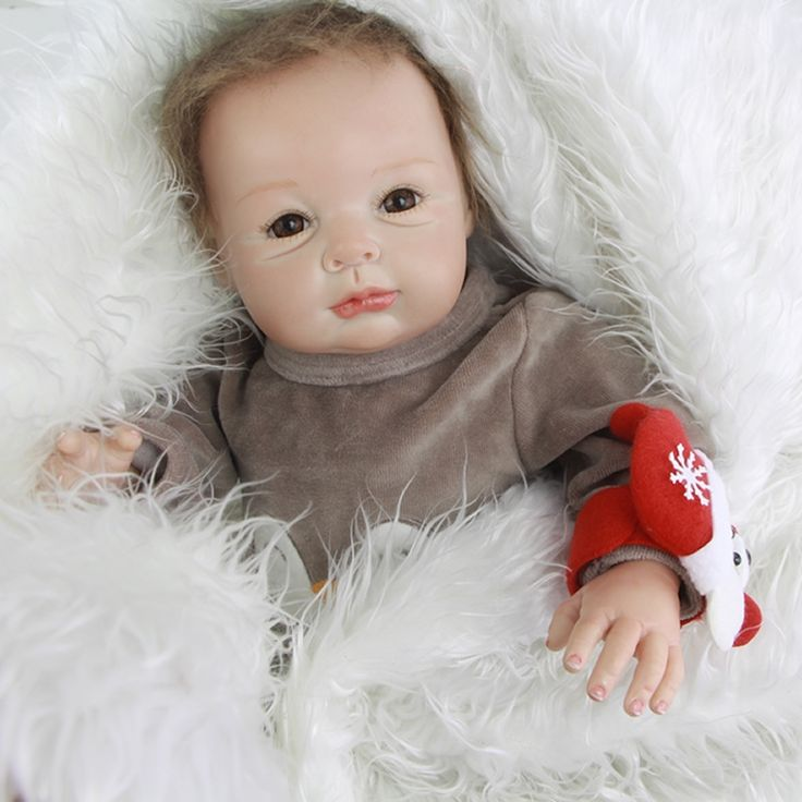 104.25$  Buy now - http://aliwwm.worldwells.pw/go.php?t=32754080140 - Collectible 22 Inch Reborn Lifelike Babies Newborn Boy Baby Doll Silicone Fashion Toy With Penguin Romper Kids Birthday Gift 104.25$