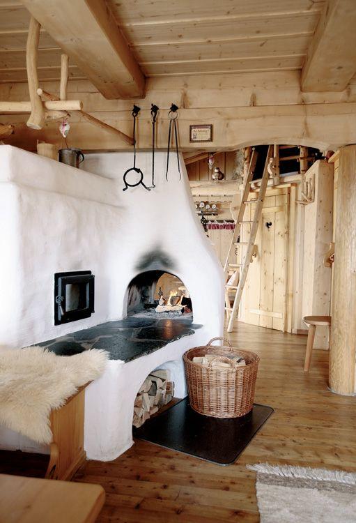 earthen fireplace