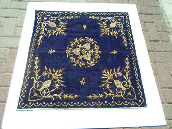 VintageTurkish antique Ottoman  hand embroidered by ArasCarpet