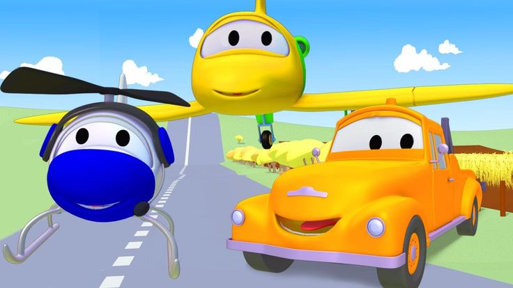 Tom la Grúa con el Avion y el Helicóptero en Auto City | Dibujos animado...