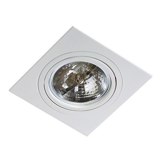 Podtynkowa LAMPA sufitowa SIRO 1 GM2101 WH Azzardo metalowa OPRAWA podtynkowa ruchoma WPUST kwadratowy OCZKO białe