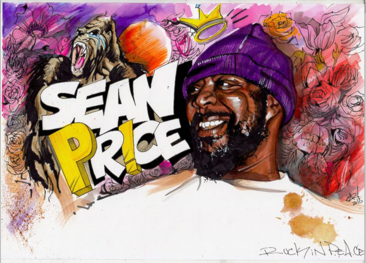 Hand drawn sketch of Sean Price aka Big Ruck of Heltah Skeltah and Boot Camp Clik Duck Down Records Brooklyn