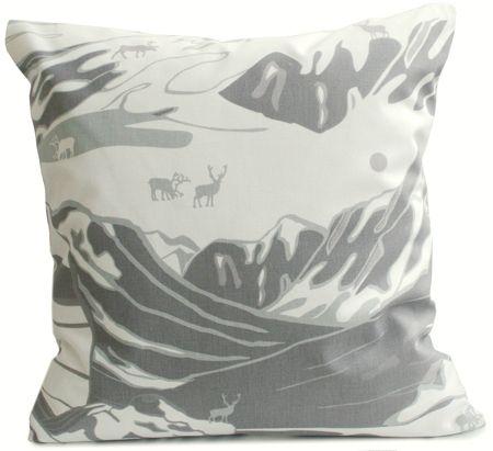 Fjäll grey cushion by Emelie Ek for Frösö Handtryck.