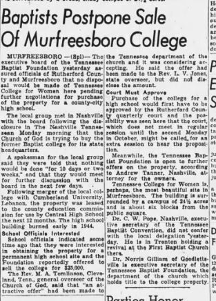 Tennessee College for Women 20 Aug 1946