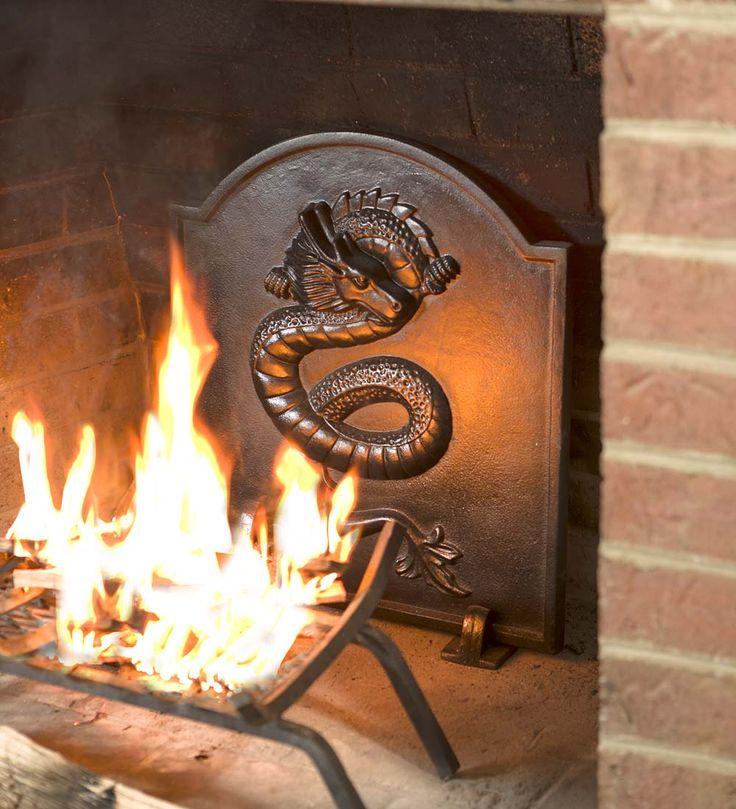 Cast Iron Fireback With Dragon Design Fireplace Grates Cast