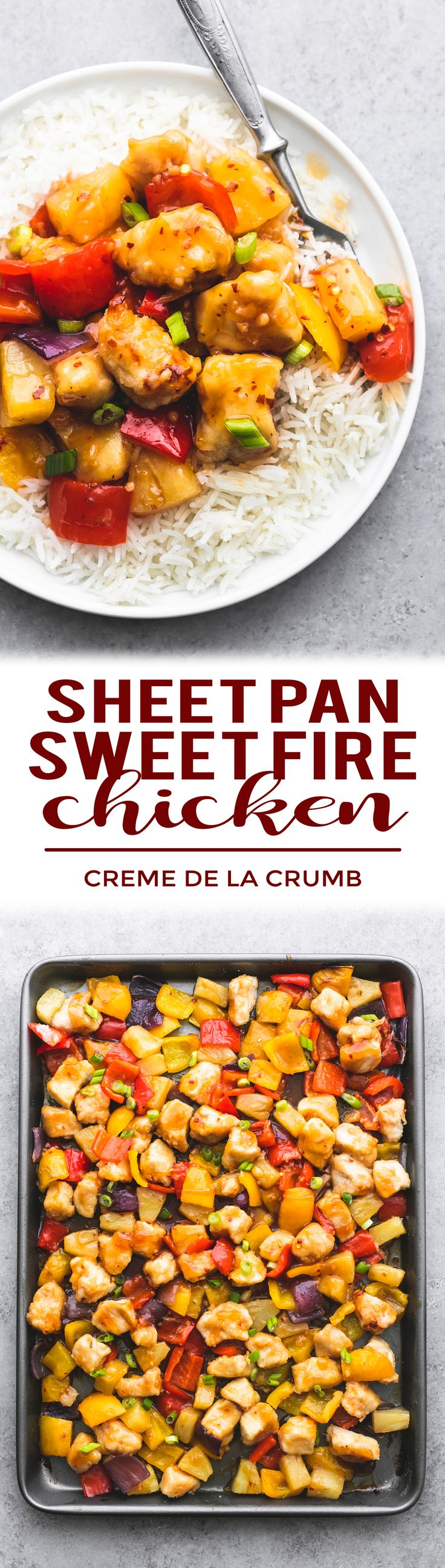 Easy and lightened-up Sheet Pan Sweet Fire Chicken is loaded with peppers, pineapple, and the best sweet and spicy Asian-inspired sauce! Skip the takeout and treat yourself to this tasty one pan dish with Kikkoman® Less Sodium Soy Sauce for a kick of flavor. #JustAddKikkoman #Sponsored