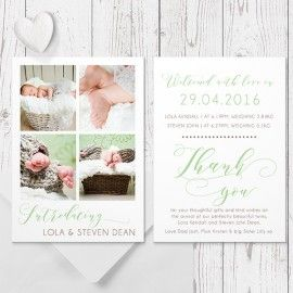Baby Girl or Twins Photo Birth Announcement Card, Natural Colours with Beautiful Calligraphy, Double Sided, Peach Perfect Australia