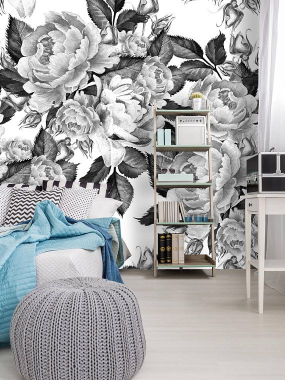 Removable Wallpaper Mural Peel Stick Self Adhesive Peonies Flowers Watercolor Black And White In 2018