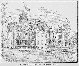 Claremont College was founded in Hickory in 1880 as a female college, but closed in 1915.