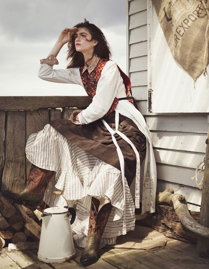 Wild West style: Maison Margiela polyester sleeveless top, MM6 cotton dress, Theory cotton mix shirt, Gasa cotton skirt, Vivienne Westwood Gold Label polyester taffeta skirt, Jessie Western leather Bird boots