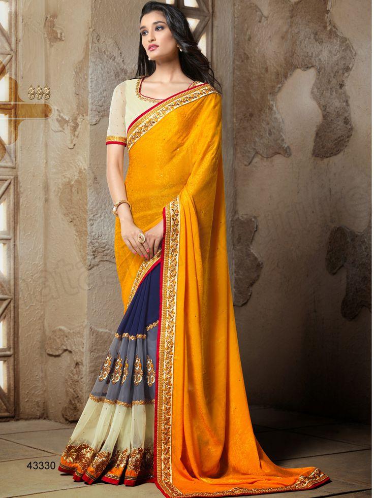 #Designer Sarees#Yellow & Blue#Indian Wear #Desi Fashion#Natasha Couture#Indian Ethnic Wear
