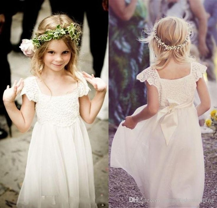 Fancy Boho Beach Cap Sleeves Flower Girl Dresses Lace Chiffon Kids Formal Gowns for Weddings with Sash First Communion Floor Length
