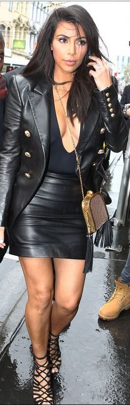 Kim Kardashian: Jacket – Balmain  Purse – Saint Laurent  Shoes – Hermes  Shirt – Oh My Love London