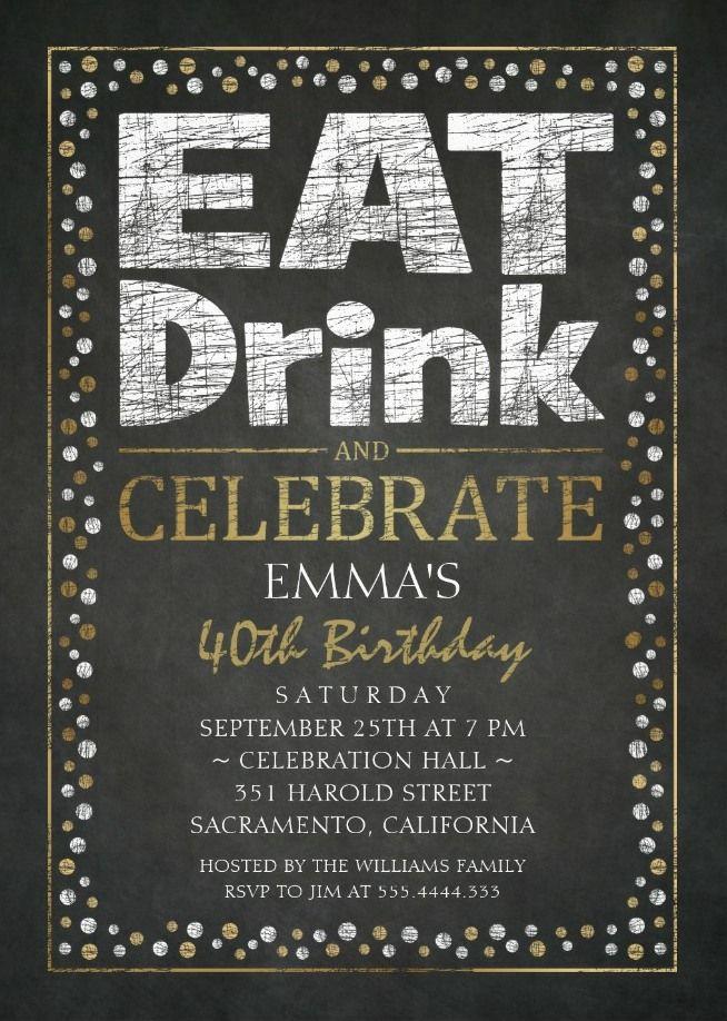 Elegant Adult 40th Birthday Party Invitations