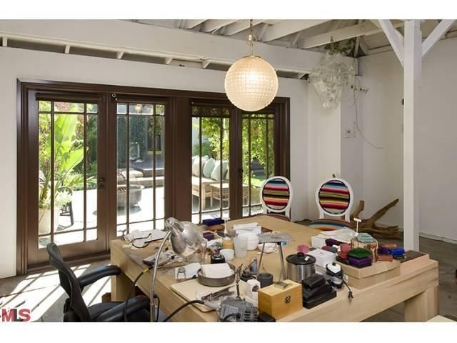 open studio space with french doors in a converted garage off the patio: Garage Converse, Doors Ideas, Garage Backyard, Converted Garage, Wood Colors, Garage Doors, Garage Conversions, Garage Get Away, Convertible Garage