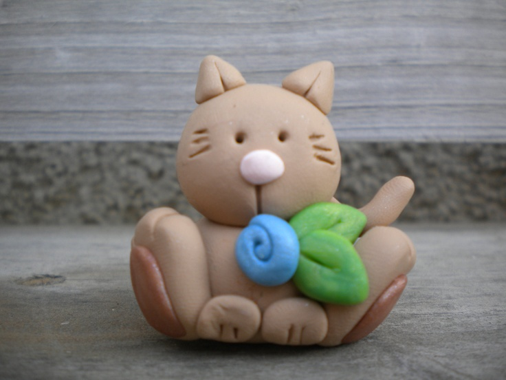 Mocha the Light Brown Kitty - sculpey figurine - inspiration only - bjl