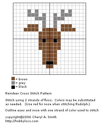 Reindeer Christmas Cross Stitch Pattern add a red nose for rudolf