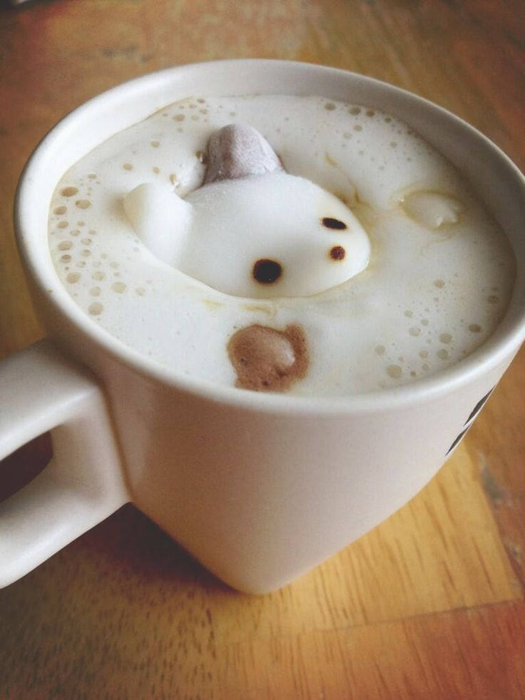 Bear sinking, cappuccino art
