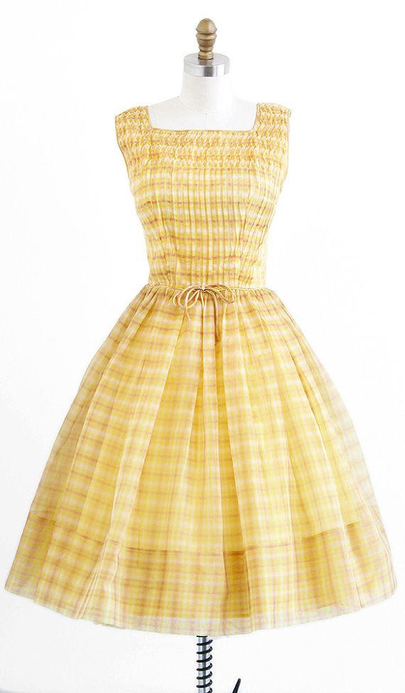 vintage 1950s dress / 50s dress / Yellow Plaid Organza Party or ...