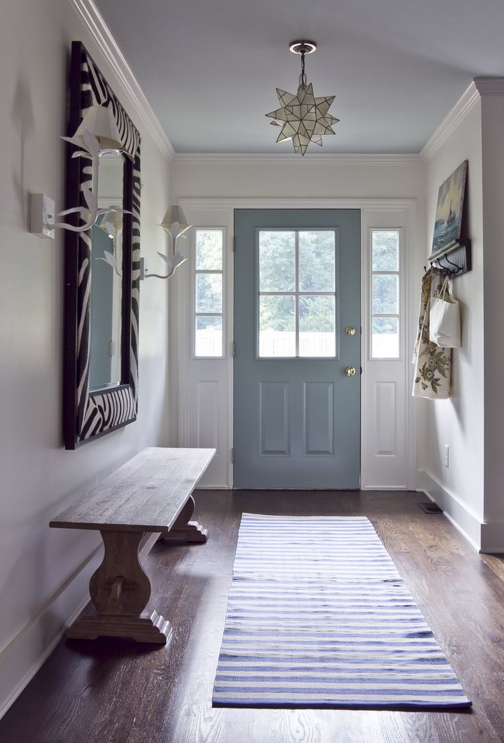 Laundry/Mud Room inspiration - BM Stratton Blue door & BM Palladian Blue ceiling, striped rug, bench