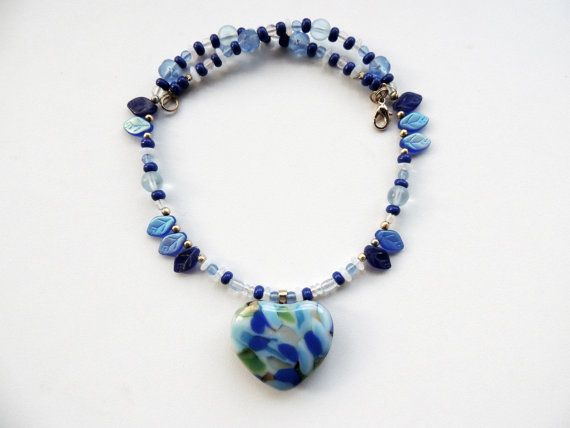 fused glass necklace heart beaded glass by Homeforglasslovers, $42.20
