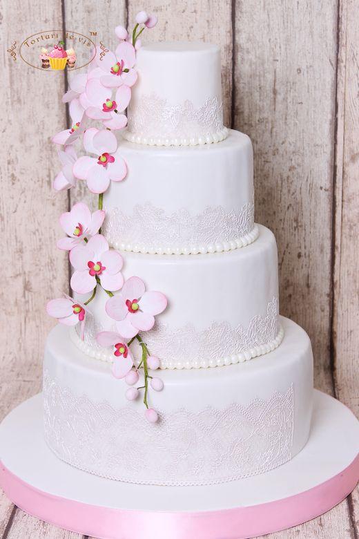 Torturi de vis: Tort de nunta cu orhidee roz