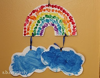 did this but used pieces of tissue paper instead of fingerprints and glued cotton balls on the clouds