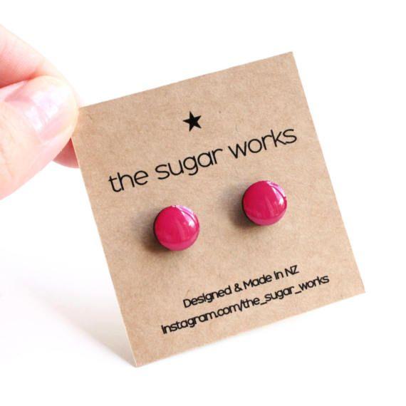Fuchsia Round Mini Stud Earrings, Colorful Handmade Wooden Studs, Resin Jewellery, Hypoallergenic Studs