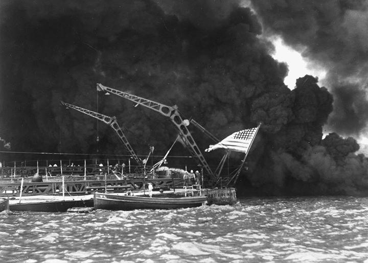 Partially sunken stern of USS West Virginia at Pearl Harbor Oahu US Territory of Hawaii 7 December 1941.