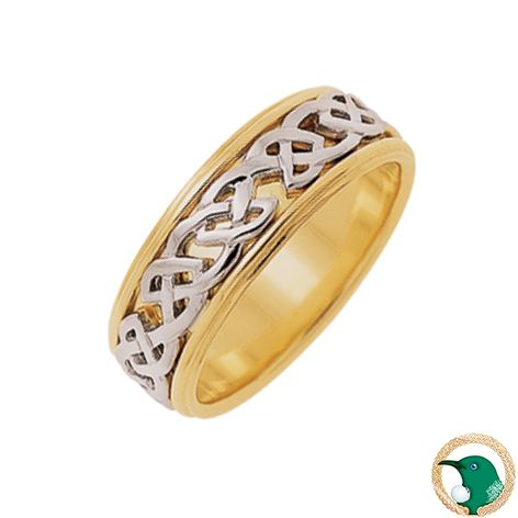 Our mens Celtic ring in 18ct yellow gold and white gold featuring a traditional Celtic weave over a solid yellow gold band. This band is edged with a distinctive eye catching rail.