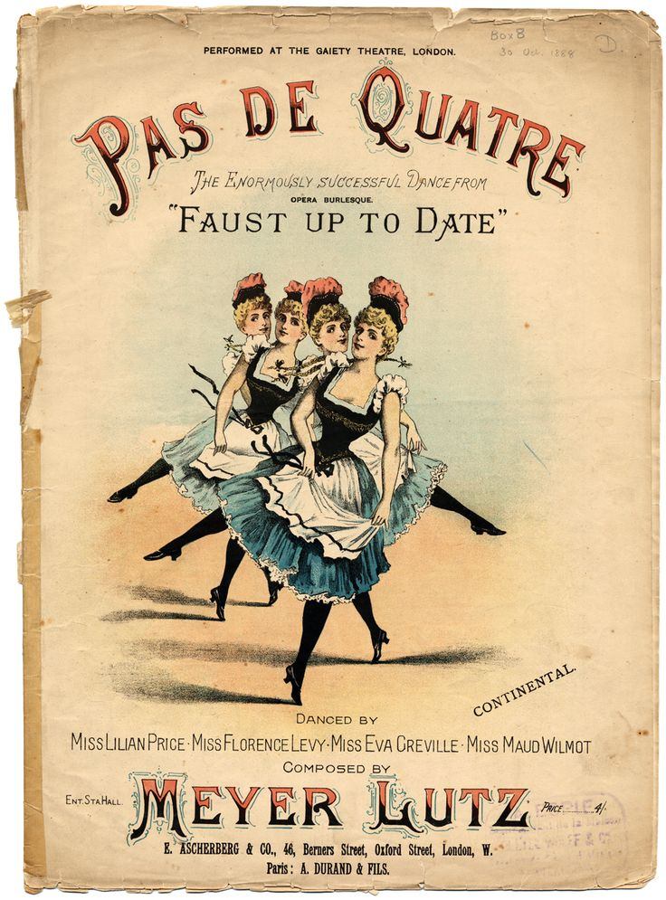 Music sheet cover of the piano music to the Pas de Quatre dance in the burlesque Faust Up to Date, composed by Meyer Lutz, Gaiety Theatre, London, around 1888.
