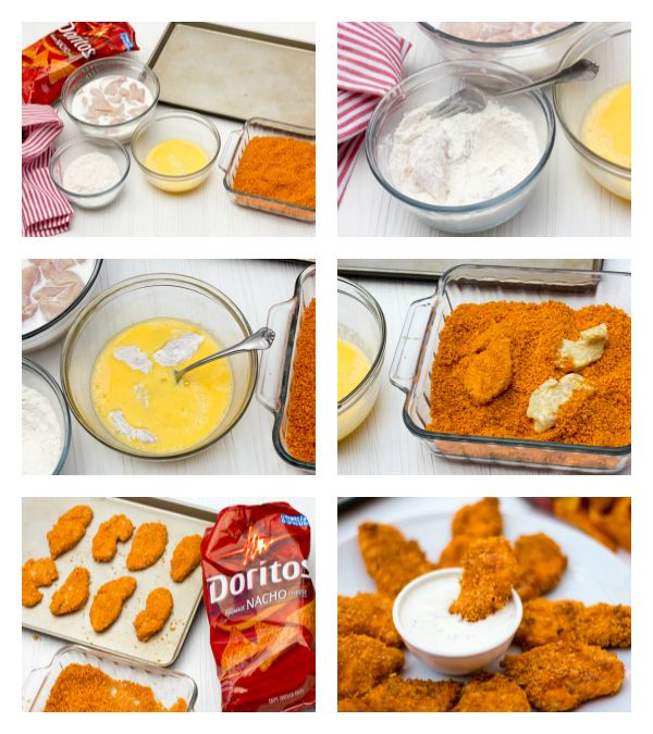 Marinate sliced boneless chicken breasts in buttermilk for 2 hours. Dredge in flour. Dip in egg wash. Dredge in crushed Doritos. Bake in a 400F for 15-20 minutes. (Mine cooked perfectly in 25 minutes!!):