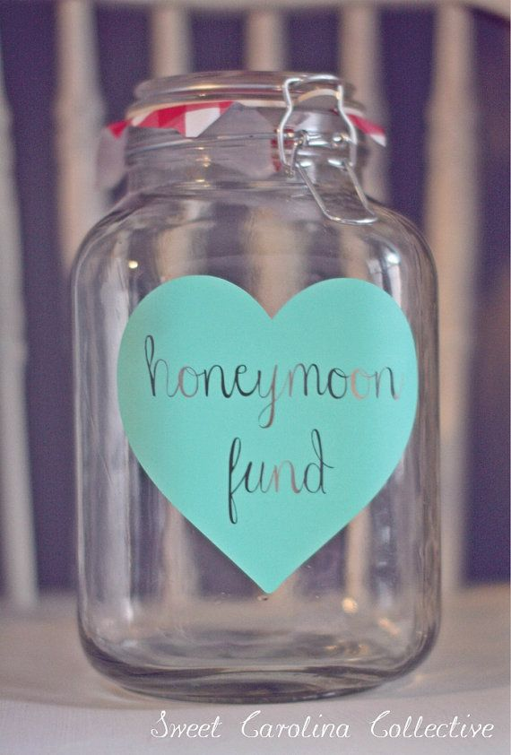 Honeymoon Fund Jar in Mint by SweetNCCollective on Etsy, $30.00