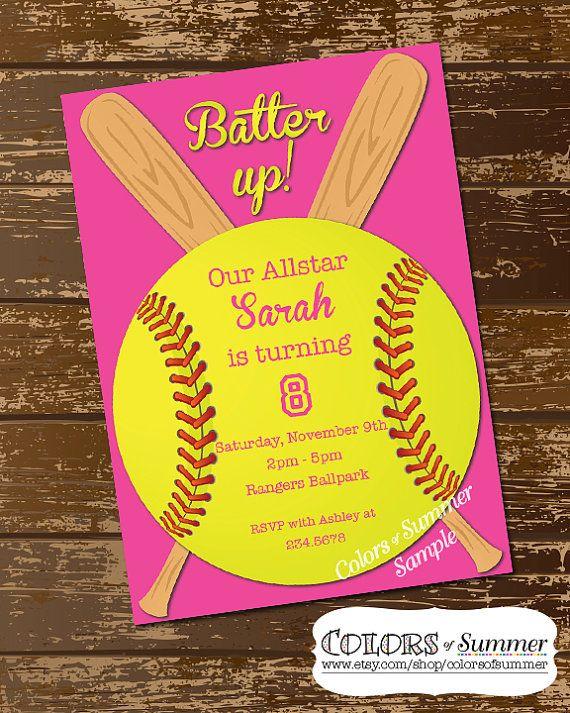 Softball Invitation Birthday Invitation Softball by colorsofsummer, $12.00