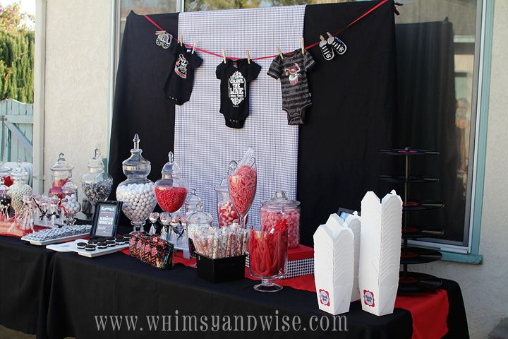 Whimsy & Wise Events: Rock-A-Bye Baby Shower  Rock and roll baby shower, rock star baby shower, red, black and gray shower, candy station