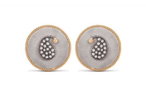 Ira Paisley Silver-Gold Ear Stud with Diamonds