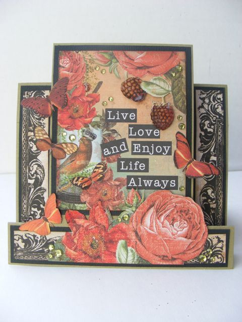 An easel card made using the Curiosity Collection from Kaisercraft. By Kelly-ann Oosterbeek.