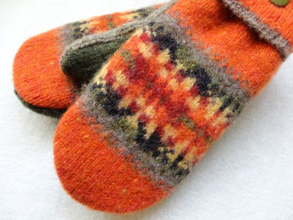 Favorite Fall Mittens ~ Felted Sweater Wool by WormeWoole.com -- Pretty harvest colors!