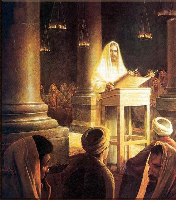 """Jesus in the Synagogue at Nazareth."" Copyright: artist Greg K. Olsen."