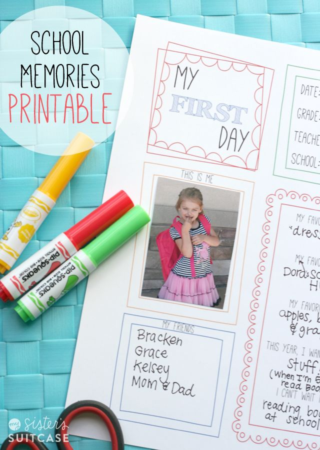 An easy way to record 1st and Last Day of School memories! Get the FREE printable at sisterssuitcaseblog.com