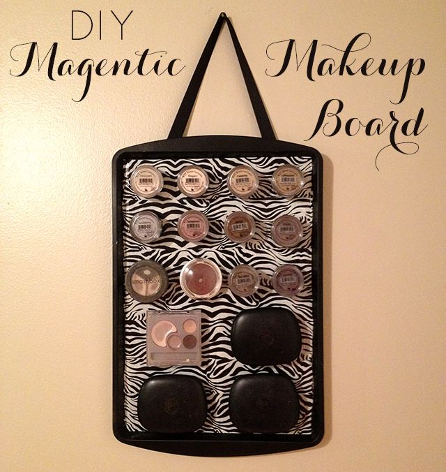 I pinned  a magnetic makeup board on Pinterest that inspired me to make my own. She used an old photo frame from the thrift store that she...