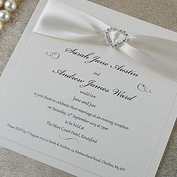 Diamonte handmade evening wedding invitations