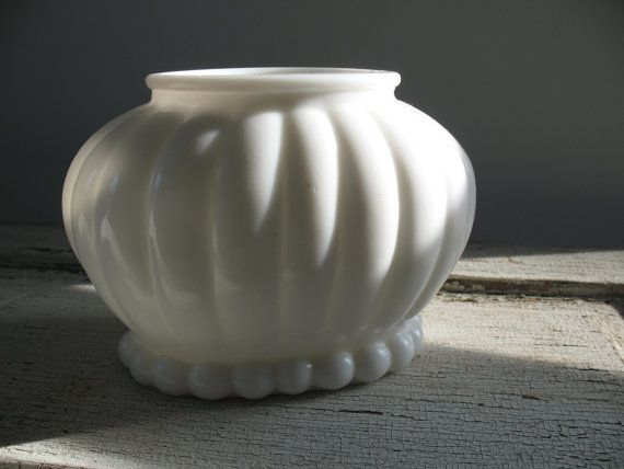 Vintage milk glass planter ribbed oval mid century retro for Bathroom decor vases