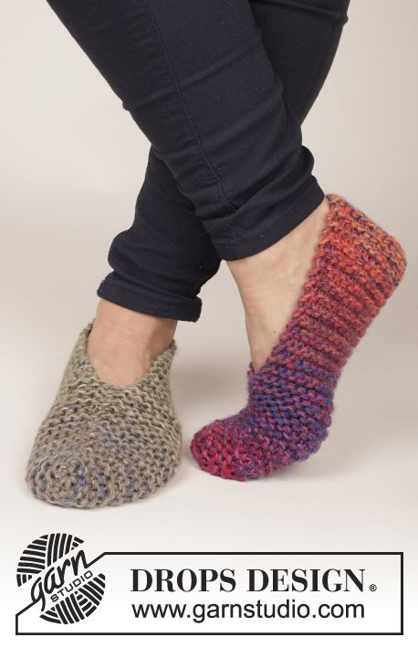 """Knitted DROPS slippers in garter st in 4 strands """"Delight"""". Free #knitting Pattern"""