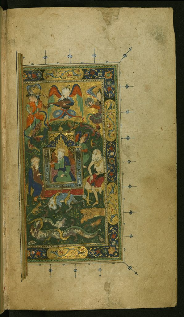 An anonymous decorated and illustrated copy of the collection of poems (Dīvān) by Shams al-Dīn Muḥammad Ḥāfiz al-Shīrāzī who flourished in the 7th AH / 14th CE century. The present copy, containing four miniatures, was penned in an elegant nastaʿlīq hand in 946 AH / 1539 CE. See this manuscript page by page at the Walters Art Museum website: art.thewalters.org/viewwoa.aspx?id=19560