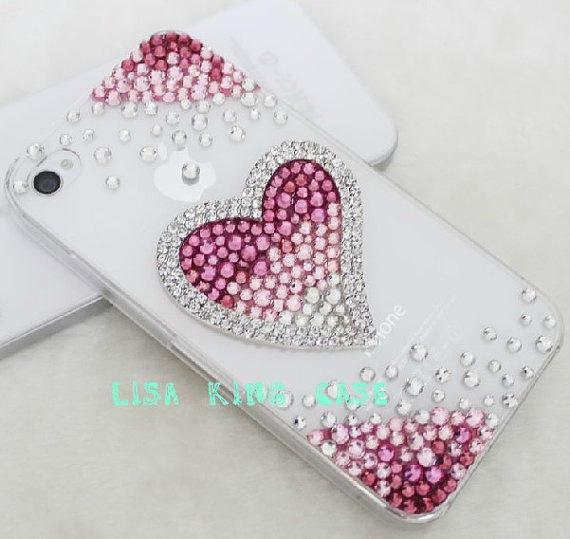 Bling rhinestone pink heart  iphone 4 case by handmadeblingcase, $22.00