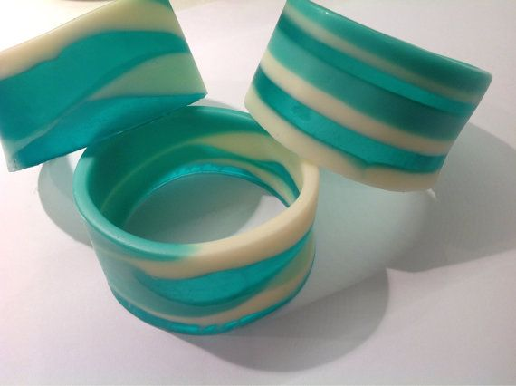 Handcrafted turquoise and white resin bangle by BBsArtandDesign, $50.00