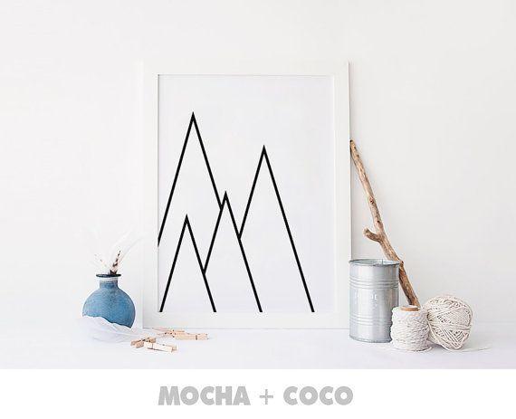 Geometric Triangle Mountain Art, Geometric Wall Art, Startup Minimal Decoration, Printable Mocha + Coco, Intstant PRINT FILE DOWNLOAD