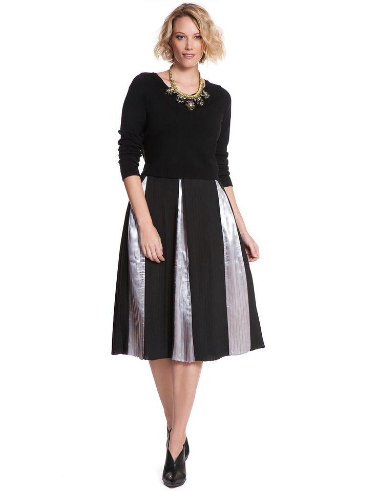 Studio Metallic Insert Pleated Midi | Women's Plus Size Skirts
